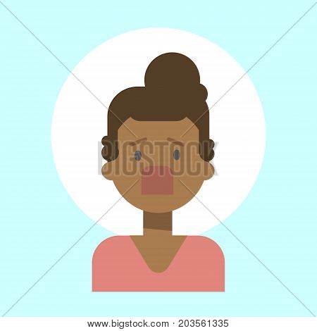 African American Female Screaming Emotion Profile Icon, Woman Cartoon Portrait Face Vector Illustration