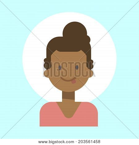 African American Female Showing Tongue Emotion Profile Icon, Woman Cartoon Portrait Happy Smiling Face Vector Illustration
