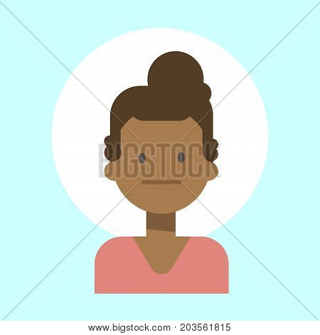 African American Female Neutral Emotion Profile Icon, Woman Cartoon Portrait Face Vector Illustration