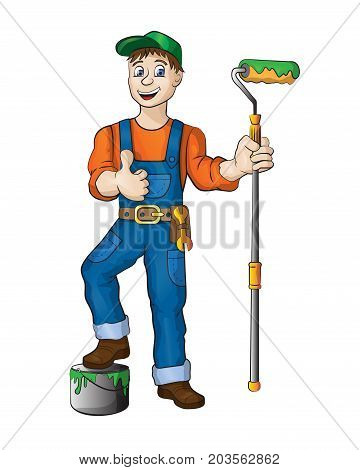 Sympathetic painter dressed in work clothes, he carries a brush and backet