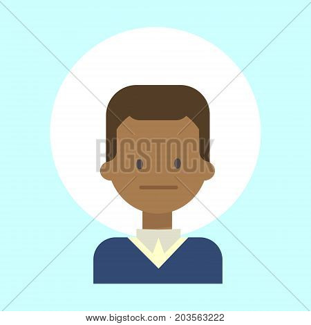 African American Male Neutral Emotion Profile Icon, Man Cartoon Portrait Face Vector Illustration