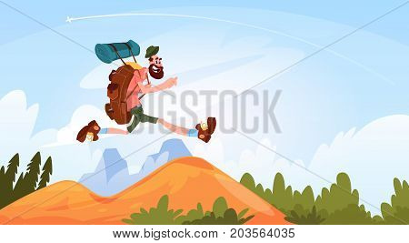 Traveler Man Hiking In Mountains Happy Smiling With Big Backpack Over Nature Landscape Flat Vector Illustration