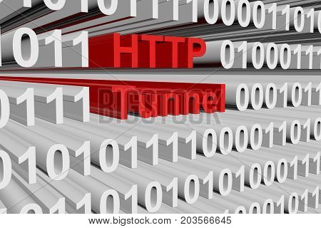 HTTP tunnel in the form of a binary code with blurred background 3D illustration