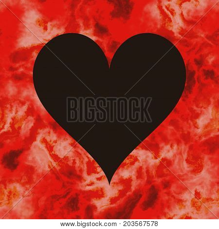 Black and passion red heart shape symbol frame background
