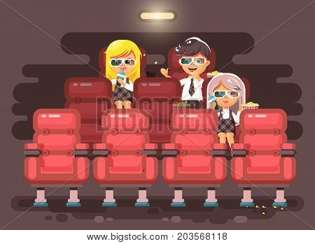 Stock vector illustration cartoon characters children, classmates, pupils, schoolboy, schoolgirls, boy and two girls sit in armchairs, cinema hall, eat popcorn, watching movie in 3d glasses flat style