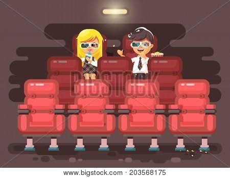 Stock vector illustration cartoon characters children, classmates, pupils, schoolboy, schoolgirl, boy and girl sit in armchairs, cinema hall, eat popcorn, watching movie in 3d glasses flat style