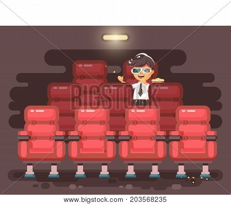 Stock vector illustration cartoon character child pupil schoolboy lonely brunette boy sits in armchair, cinema hall, eat popcorn, watching movie in 3d glasses flat style