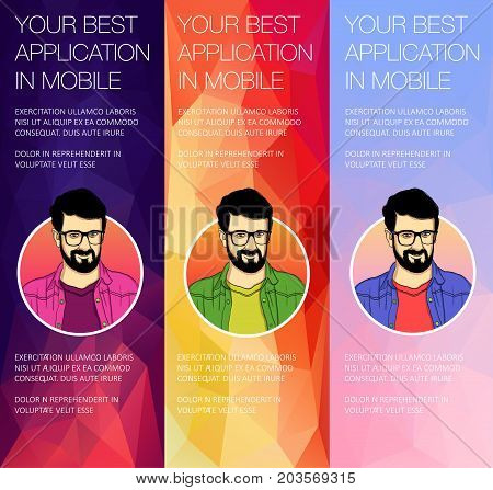 Set of colorful vector banners with faces of a man. An avatar for a web banner template.