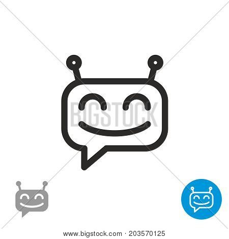 Chatbot icon. Simple outline linear happy robot head picture.