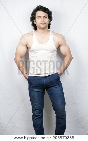 indian fitness male model in vest front pose