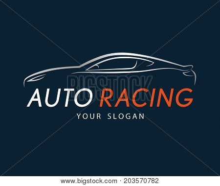 Auto Racing Symbol On Dark Blue Background. Silver Sport Car Logo Design For Dealer, Shop, Service S