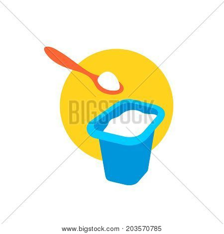 Yogurt cap with a spoon above. Container full of yogurt color illustration.