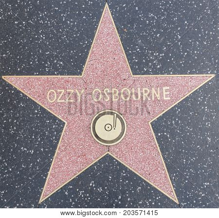 HOLLYWOODCA - OCTOBER 8 2015: Ozzy osbourne tribute on the Walk of Fame. This star is located on Hollywood Blvd. and is one of 2400 celebrity stars