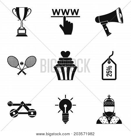 Discount in online store icons set. Simple set of 9 discount in online store vector icons for web isolated on white background