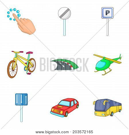 City destination icon set. Cartoon set of 9 city destination vector icons for web design isolated on white background