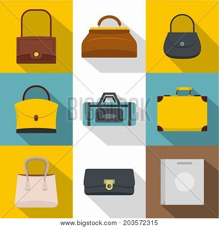 Various types of bags icon set. Flat style set of 9 various types of bags vector icons for web design