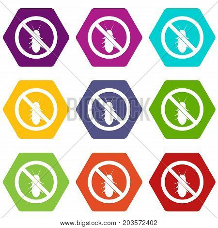 No termite sign icon set many color hexahedron isolated on white vector illustration