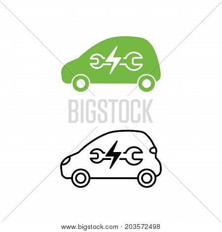 Electric Car With Wrench Icon. Maintenance Service Car. Hybrid Vehicle Symbol. Eco Friendly Auto Or