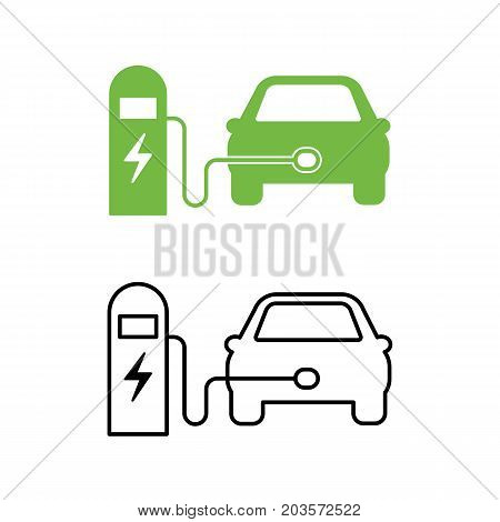 Electric Car And Electrical Charging Station Icon. Hybrid Vehicle Symbol. Eco Friendly Auto Or Elect