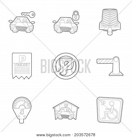 Car park icons set. Outline set of 9 car park vector icons for web isolated on white background