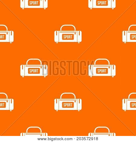 Large sports bag pattern repeat seamless in orange color for any design. Vector geometric illustration