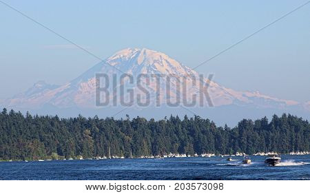 Mount Rainier Snow On Volcano Shot From Seattle