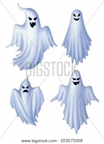 Set of isolated white ghosts ghost characters EPS 10 contains transparency.