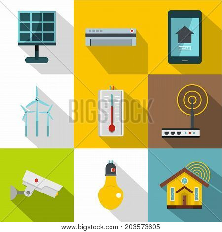 Smart home devices icon set. Flat style set of 9 smart home devices vector icons for web design