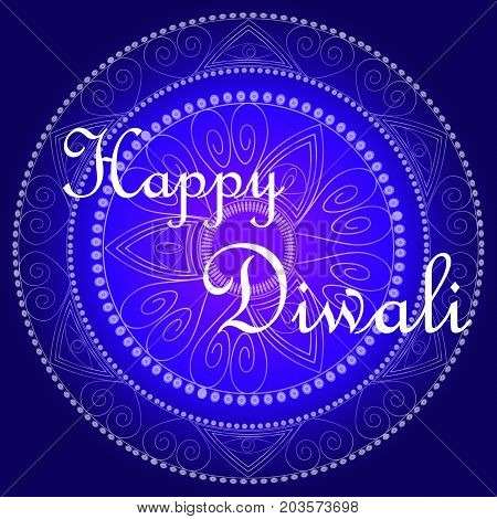 Happy Diwali. The Inscription On A Blue Background, Highlighted By A Mandala.