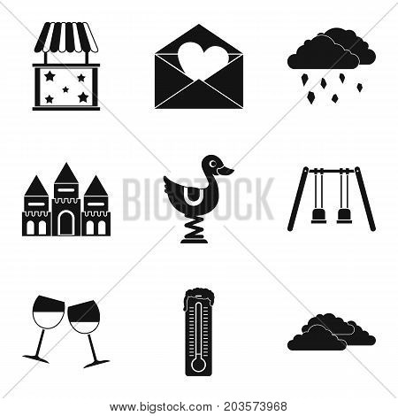 Attention icons set. Simple set of 9 attention vector icons for web isolated on white background