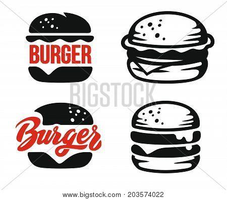 burger logo emblem set on white background