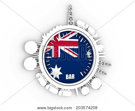 Circle with energy relative silhouettes. Design set of natural gas industry. Objects located around the manometer circle. 3D rendering. Flag of the Australia