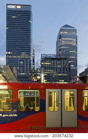 London England - August 13 2017: Canary Wharf  station Docklands London UK. Modern Architecture with glass and steel arch leading into the station.
