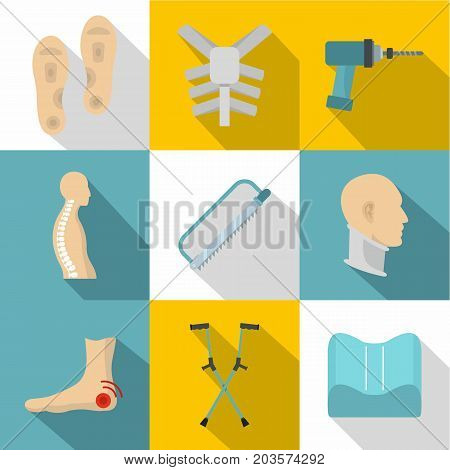 Orthopedic icon set. Flat style set of 9 orthopedic vector icons for web design
