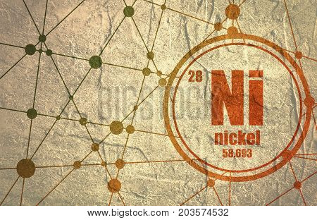 Nickel chemical element. Sign with atomic number and atomic weight. Chemical element of periodic table. Molecule And Communication Background. Connected lines with dots. Grunge distress texture.
