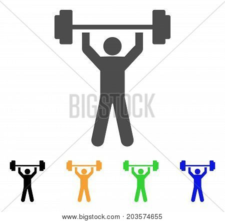 Power Lifting icon. Vector illustration style is a flat iconic power lifting symbol with black, gray, green, blue, yellow color versions. Designed for web and software interfaces.
