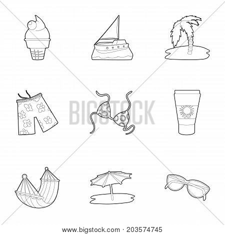 Beach accessories icons set. Outline set of 9 beach accessories vector icons for web isolated on white background