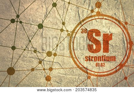 Strontium chemical element. Sign with atomic number and atomic weight. Chemical element of periodic table. Molecule And Communication Background. Connected lines with dots. Grunge distress texture.
