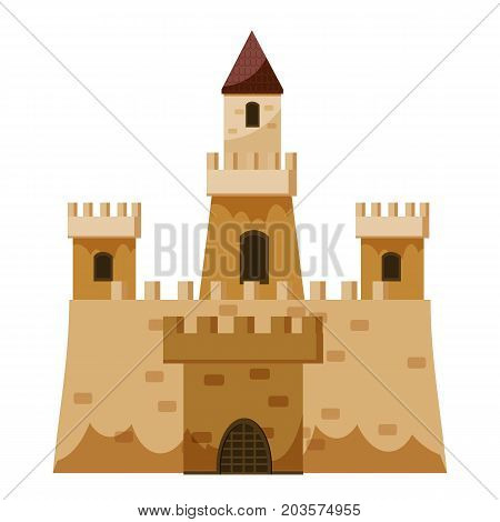 Stone historical castle icon. Cartoon illustration of castle vector icon for web