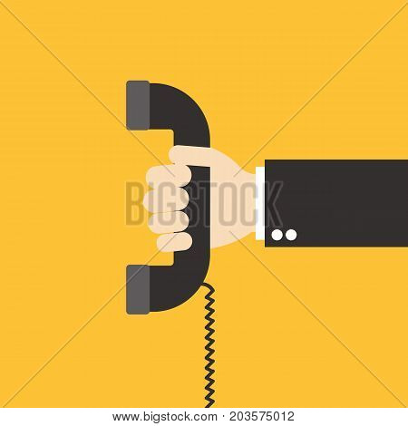 Hand holding telephone. Old telephone. Vector stock.