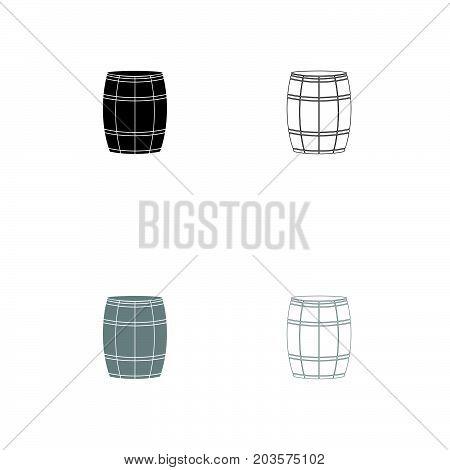 Wine Or Beer Barrels Black And Grey Set Icon .