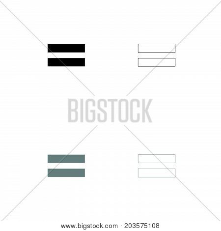 Sign Equally Black And Grey Set Icon .