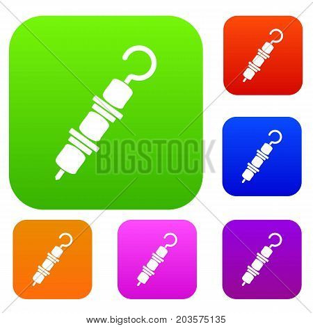 Kebab on skewer set icon color in flat style isolated on white. Collection sings vector illustration