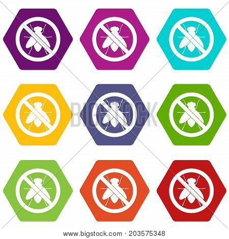 No fly sign icon set many color hexahedron isolated on white vector illustration