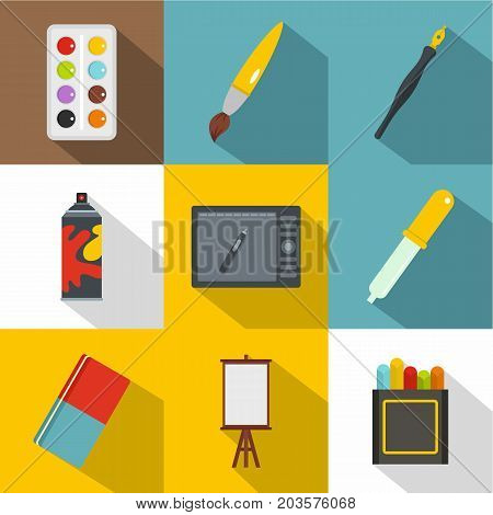 Designer workspace icon set. Flat style set of 9 designer workspace vector icons for web design