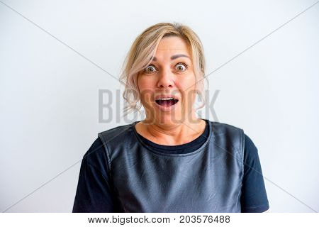A portrait of a woman showing emotions