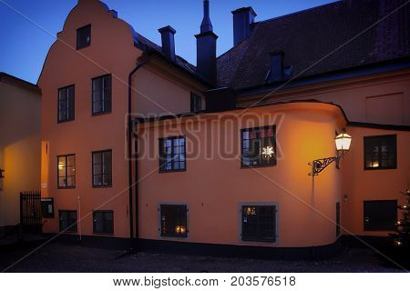 Stockholm Sweden - January 05th 2015: Christmas in Scandinavia. Christmas lights of Stockholm. Celebratory lights in the windows of houses.