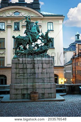 Stockholm Sweden - January 05th 2015: St. George and the Dragon. Monument to St. George in Stockholm. Old Town (Gamla Stan).