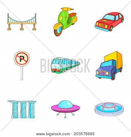 City transport types icon set. Cartoon set of 9 city transport types vector icons for web design isolated on white background