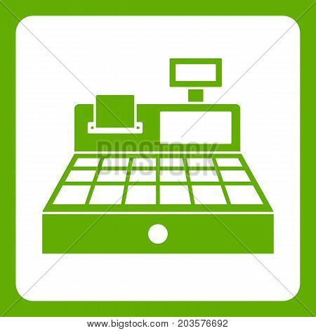 Sale cash register icon white isolated on green background. Vector illustration